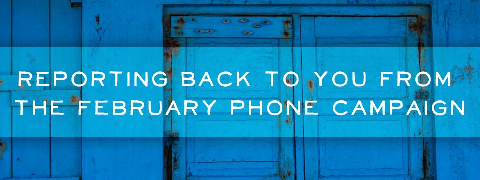 Reporting Back to You From the February Phone Campaign