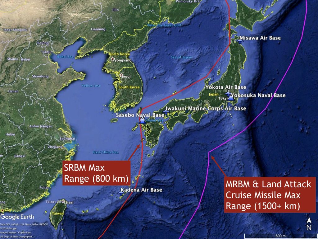 China missiles can strike these areas