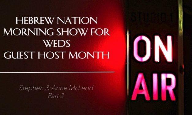 Hebrew Nation Morning Show – Weds 3/15/17 Guest Host Anne & Stephen McLeod