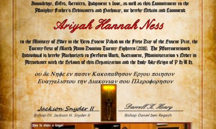 The Ordination Service of Ariyah Ness to Elder